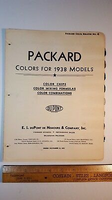 1938 PACKARD - Original Color Paint Chips - Very Good Condition (US)
