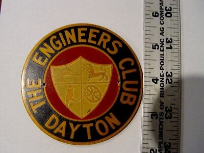 The Engineers Club Car Badge Emblem Dayton Ohio Near Perfect License Topper