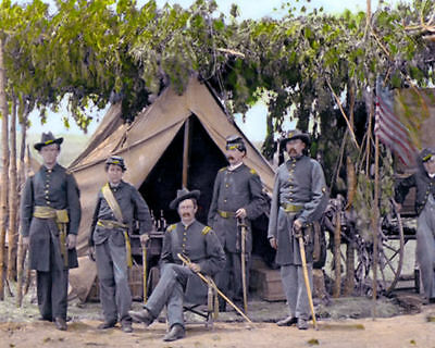 "OFFICERS COMPANY F VIRGINIA CAVALRY 1865 CIVIL WAR 10x8"" HAND COLOR TINTED PHOTO"