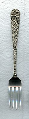 Repousse Fork 5-1/2 inch by S. Kirk and Son Sterling Silver Momogrammed