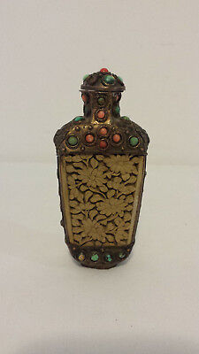 "Vintage Tibetan Hand-Carved Cinnabar and Brass Snuff Bottle 4 1/2"" Tall"