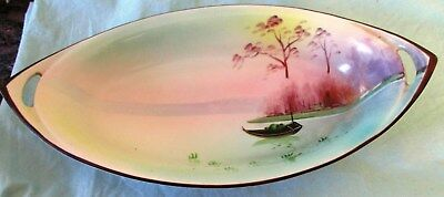 Antique Early 1900's Hand Painted Nippon Porcelain Oval Dish Bowl w Handles