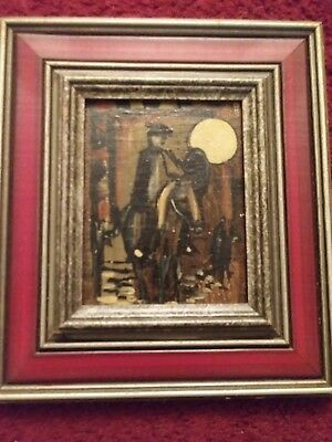 NOS Signed Oil Painting on Wood Mid CENTURY Spanish Red Grey Frame Man on Horse