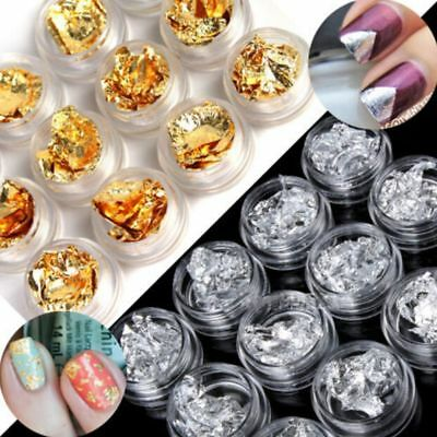 12 PCS Nail Art Gold Silver Flake Chip Foil DIY Acrylic UV Gel Pager Decorations
