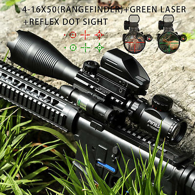 Pinty Rangefinder Rifle Scope 4-16x50 Holographic Reflex Dot Sight Green Laser