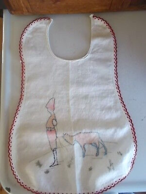 Vtg.Hand Embroidered Baby Bib Cotton Linen Boy Pulling Goat Red Piping Edge OLD