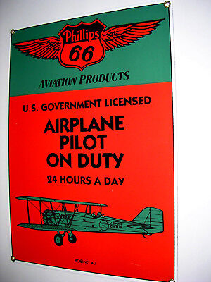 Ande Rooney Phillips 66 Aviation Products Pilot on Duty Porcelain Sign USA
