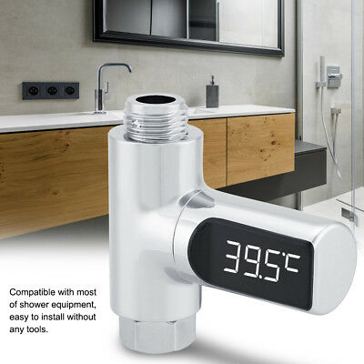 LED Digital Shower Temperature Display Water Thermometer Monitor Battery Free