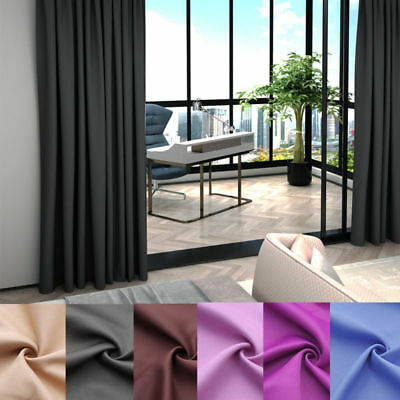 Thermal Blackout Pair Curtains Ring Top Eyelet or Pencil Pleat with Tie Backs