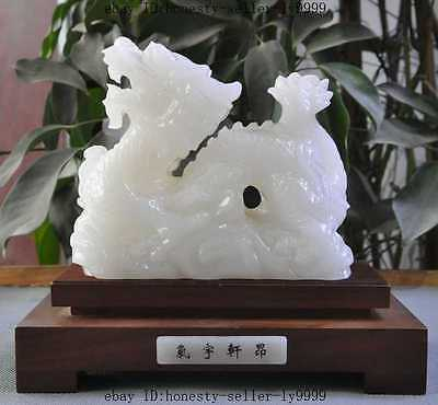 chinese natural white jade pure hand-carved dragon beast lucky auspicious statue