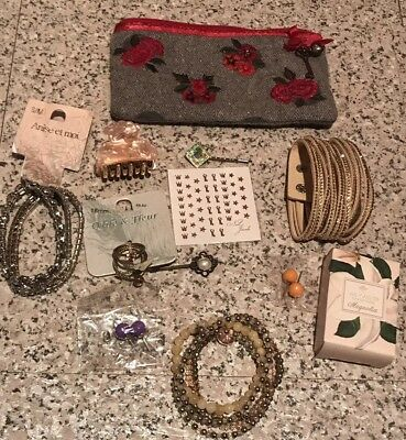 Vintage Style Pouch With Job Lot Of Accessories, Soap, Rings, Bracelets,Earrings