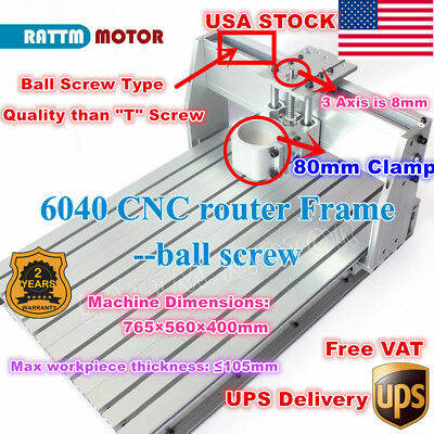 【USA】6040 Ball Screw 80mm Aluminum DIY PCB CNC Wood Router Frame Milling Machine