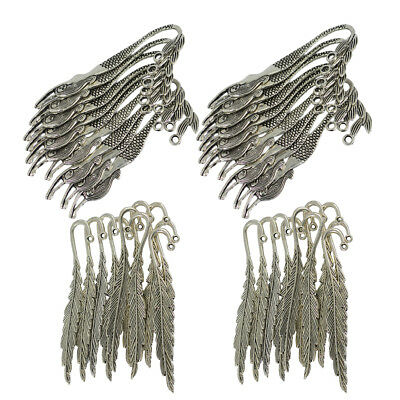 40pcs Feather Mermaid Charms Antique Alloy Bookmark Beading Finding Craft
