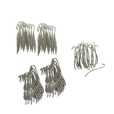 60pcs Feather Mermaid Line Charms Antique Alloy Bookmark Beading Findings