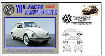 70th ANNIVERSARY OF THE VW VOLKSWAGEN BEETLE MOTOR CAR SOUVENIR COVER 1