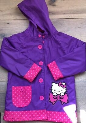 Hello Kitty Hooded Purple Raincoat Fleece Lined Western Chief Girls Size 5 EUC