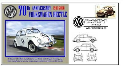 70th ANNIVERSARY OF THE VW VOLKSWAGEN BEETLE MOTOR CAR SOUVENIR COVER 8