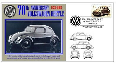 70th ANNIVERSARY OF THE VW VOLKSWAGEN BEETLE MOTOR CAR SOUVENIR COVER 2