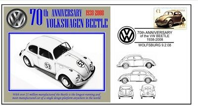 70th ANNIVERSARY OF THE VW VOLKSWAGEN BEETLE MOTOR CAR SOUVENIR COVER 4