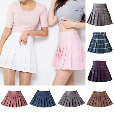 Women's Tennis High Waist Plaid Skirt Flared Pleated Short Mini Skirt Maxi Dress