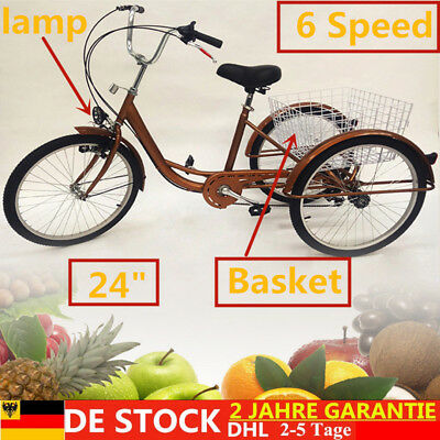 "Neuf Vélo adulte à 6 vitesses 24"" Tricycle 3 roues Tricycle + panier + lampe DHL"