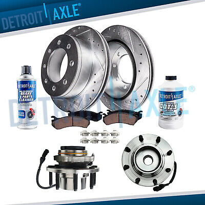 2000 2001 2002 Excursion F250 F350 SD Front Wheel Bearing Hub+DRILLED Rotors 4WD