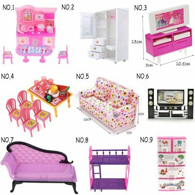 Kids Girl Doll house Toy Accessories Dinnerware Cabinet Mini Furnitures Play Set