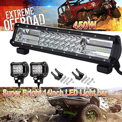 SPOT FLOOD 14Inch 450W LED Light Bar  Driving Lamp Offroad Fit 4WD SUV ATV