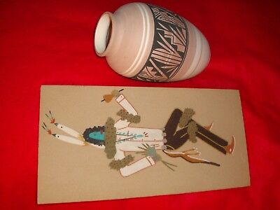 Navajo Pottery Signed W/coa And Navajo Sand Painting Signed