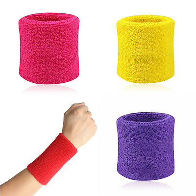 2x Sport Sweatbands Wristband Tennis Squash Badminton Gym Football Wrist Bands R