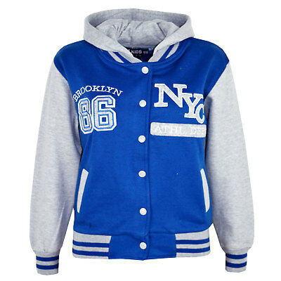 Kids Girls Baseball NYC ATHLETIC Royal Hooded Jacket Varsity Hoodie Age 5-13 Yrs