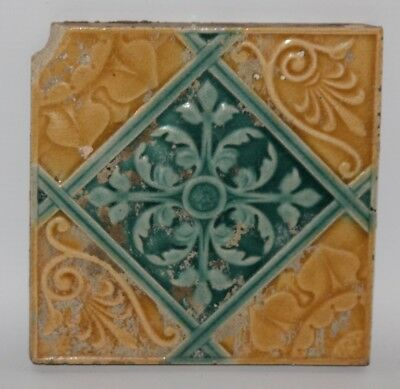 "Antique Art Nouveau Relief Moulded Majolica 6"" Tile"