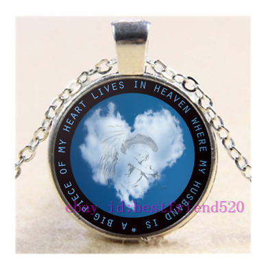 """A Big Piece Of My Heart Lives In Heaven"""" Cabochon Glass Pendant Chain Necklace"""