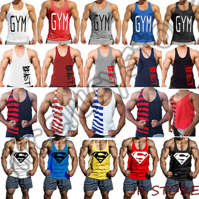AU Men's Gym Sleeveless Singlet Bodybuilding Tank Top Fitness Vest Muscle Shirt