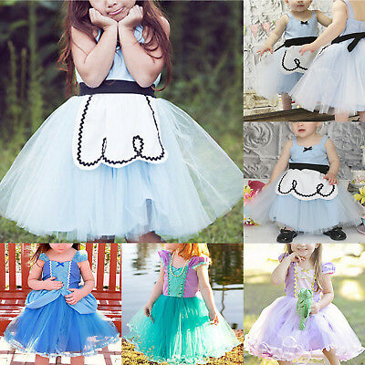 AU Baby Girls Princesss Cinderella Rapunzel Ariel Kids Tulle Dress Party Costume