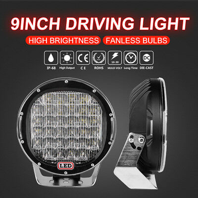 Pair 9inch 99999W CREE LED Driving Light Spotlights Round Work Offroad Truck SUV