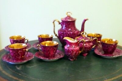 walbrzych Vintage China Porcelain  amazing and special purple tea set