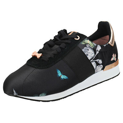 676348b1525bf Ted Baker Emileio Womens Black Rose Gold Leather   Textile Trainers