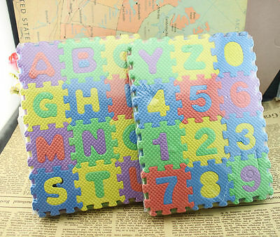 36 pcs Baby Kids Alphanumeric Educational Puzzle Infant Child Toy Gift RDR