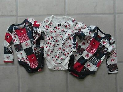 NEW NO TAGS: SET OF 3 BABY GIRL LONG SLEEVE VESTS with POPPERS 0 - 3 Months - TU