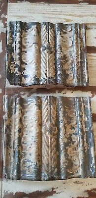 """Two Vintage Antique Tin Metal Ceiling Tiles Reclaimed Salvage 11.5"""" x 13"""" cream"""
