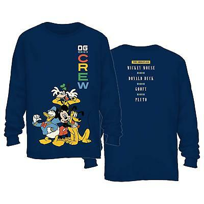 DISNEY MICKEY MOUSE Crew Donald Duck Goofy Adult Mens Graphic Long