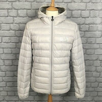 758879e3692e Ea7 Emporio Armani Mens Uk S Core Id Light Grey Hooded Down Jacket Coat  Puffa