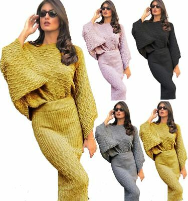 Ladies Cable Knitted Zig Zag Bell Sleeve Jumper Skirt Winter Wear Co-Ord Set