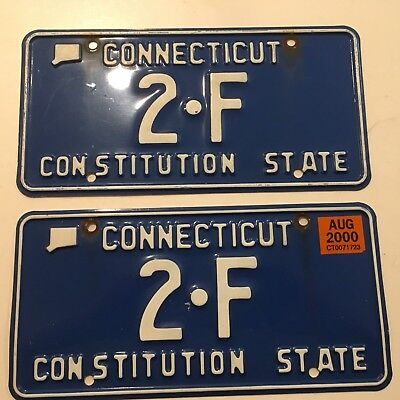 1980's 1990's 2000 Connecticut License Plate PAIR Plates YOM Low Number Digit 2F