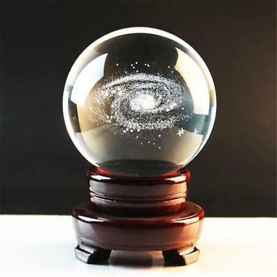 80mm 3D Solar System & Galaxy Crystal Ball Paperweight Home Room Decor Gifts TOY