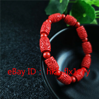 Characters Bead Elastic Bracelet Chinese Natural Red Organic Cinnabar Amulet A2