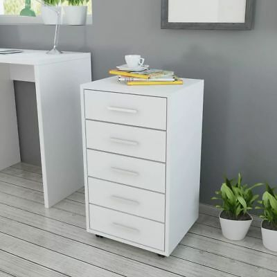Office Drawer Unit Storage Cabinet with Castors 5 Drawers White Furniture B7B7
