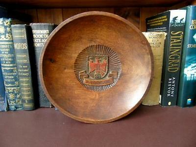 Early 20th c, Hand Carved & Turned, Wooden Wall Plaque, Crest of Burgenland