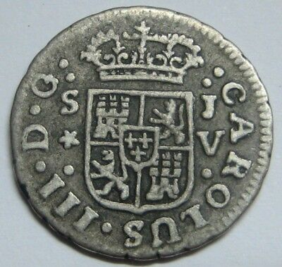 1761 Sevilla 1/2 Real Charles Iii Spanish Colonial Scarce Silver Coin Spain